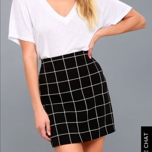 Black & white grid mini skirt